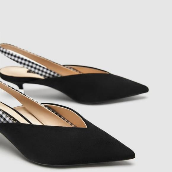 b7cdb120c8e Zara Slingback Kitten Heel with Checked Strap. M 5af1af672ab8c57d0a7d590a